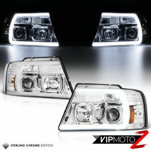 04 08 Ford F150 Chrome Cyclop Optic Neon Tube Led Drl Projector Headlight Lamp