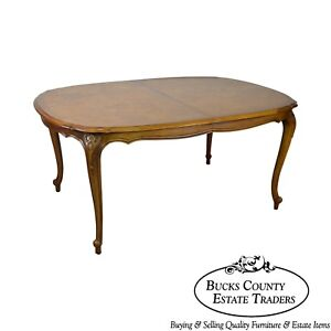 Century French Louis Xv Style Burl Wood Expandable Dining Table W 3 Leaves