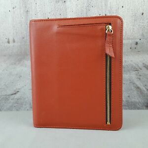 Franklin Covey Classic Kenzie 7 Ring Open Binder In Spice Orange Leather