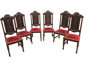 Lovely Clean Set Of Six French Gothic Chairs Spanish Influence 1930 S