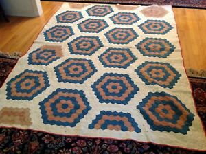 Sale Antique Blue Pink White Hand Stitched Antique Summer Quilt 67 X 91 As Is