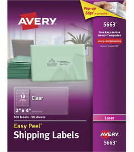 Avery Easy Peel Permanent adhesive Mailing Labels For Laser Printers 2 X 4 In