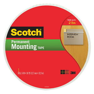 Scotch Double Sided Permanent Mounting Tape 3 4 In W X 38 Yd L White