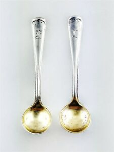Pair Of 2 Antique Sterling Silver Gorham Salt Spoons