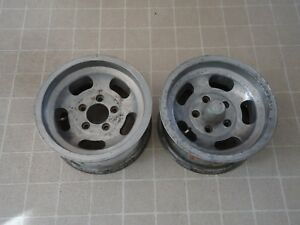 2 Pair Vintage Slot Mag Aluminum Wheel Rim 14x7 4 3 4 Bolt Pattern
