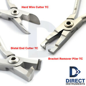 3pcs Tungsten Carbide Hard Wire Cutter Distal End Ortho Bracket Removing Pliers