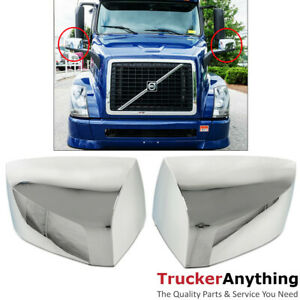 Mirror Cover Chrome Volvo Vnl 04 15 Left Right Pair Door Side View Housing Cap