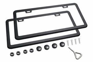 2 Pack Car License Plate Frame Front Rear Covers For Car Truck Suv Slim Black