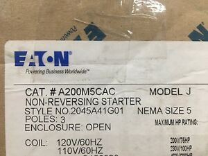 New In Box Starter Eaton Cutler Hammer A200m5cac Size 5