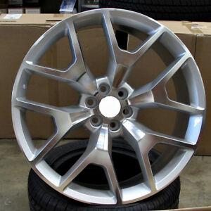 22x9 6x139 7 Et30 Silver Machined Face Wheels Set Of 4 Rims Fit Chevy Gmc