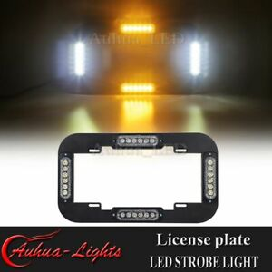 14 Led Strobe License Plate Lights Warning Flashing Traffic Advisor Amber White