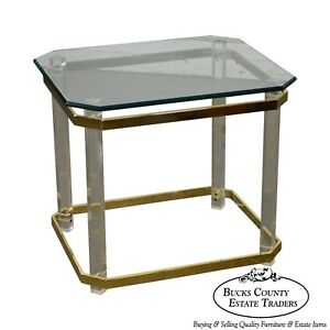 Lucite Brass Glass Mcm Side Table
