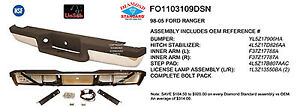 Replacement Step Bumper Assembly For 1993 2004 Ford Ranger Rear Fo1103109dsn