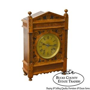 Antique Aesthetic Walnut Mantel Clock Attributed To Daniel Pabst