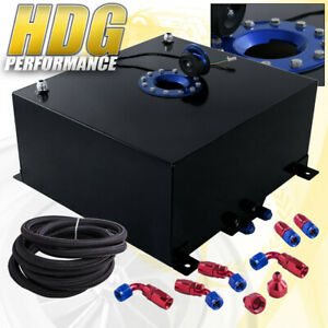 Black Aluminum Fuel Cell Gas Tank 10 Gallon 40l Blue Cap Braided Oil Feed Line