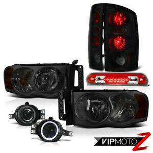 2002 05 Ram Srt Tinted Headlight Blk Smk Taillight Bumper Fog 3rd Brake Red Led