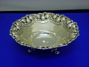 Sterling Silver Small Fruit Detailed Bowl Hallmark Hzm 925