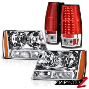 Factory Syle Headlights Headlamps Chevrolet Tahoe Suburban Red Led Tail Lights
