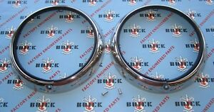 1948 1952 Buick Oldsmobile Stainless Headlight Bezels Pair Headlamp Rings