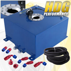 Blue Aluminum Fuel Cell Gas Tank 10 Gallon 40l Chrome Cap Braided Oil Feed Line