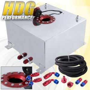 Aluminum Fuel Cell Gas Tank 13 Gallon 50 Liters Red Cap Braided Oil Feed Line