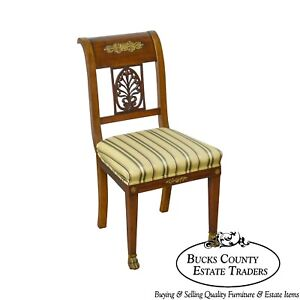 Antique 19th Century French Empire Mahogany Bronze Mounted Side Chair