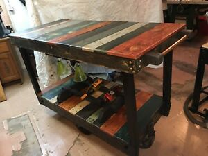 Antique Wood Factory Cart Wine Bar Or A Kitchen Island