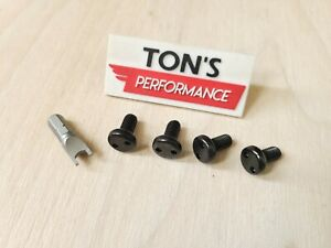 Black Audi Security Anti Theft Auto License Plate Screws Stainless Bolts Snake