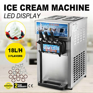 3 Flavor Commercial Frozen Yogurt Soft Ice Cream Cones Maker Machine 110v