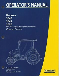 New Holland Boomer 3040 3045 3050 Compact Tractor Operator Manual 84382266