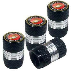 4 Black Billet Contrast Cut Knurled Tire Air Valve Stem Caps Usmc Marine Corps