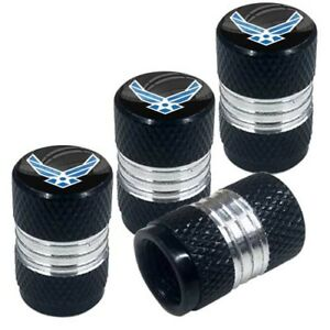 4 Black Billet Contrast Cut Knurled Tire Air Valve Stem Caps Usaf Air Force Wl