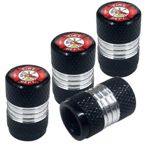 4 Black Billet Contrast Cut Knurled Tire Air Valve Stem Caps Fire Fighter Dept