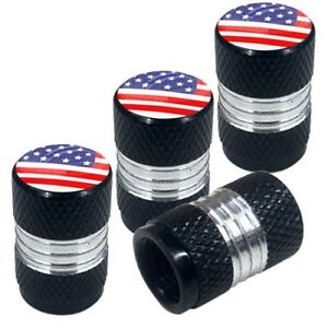 4 Black Billet Contrast Cut Knurled Tire Air Valve Stem Caps Usa American Flag