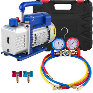 Combo 4 Cfm 1 4hp Air Vacuum Pump Hvac R134a Kit Ac A c Manifold Gauge Great