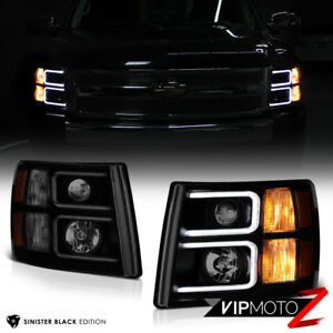 Sinister Black Darkest Smoke 07 13 Chevy Silverado Pickup Projector Headlights