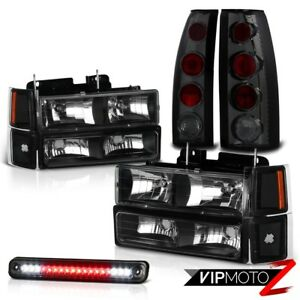 1994 1998 Chevy Silverado Tahoe Suburban Black Headlight Smoke Led 3rd Taillight