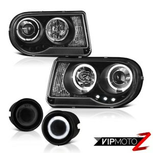 05 10 Chrysler 300c Black Led Drl Headlamps L R Daytime Projector Fog Lamps Pair