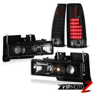 4pc Tahoe Yukon Silverado Suburban Sierra Black Projector Headlamps Led Taillamp