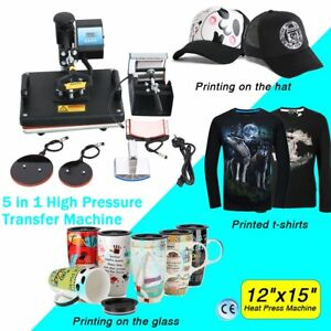5in1 Heat Press Machine Digital Transfer Sublimation T shirt Mug Hat Plate Cap E