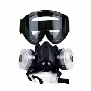 New Half Face Gas Mask With Anti fog Glasses And N95 Chemical Dust Mask Filters