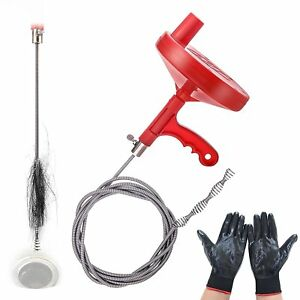 Cleaning Clog Plumbing Manual Spin Drain Cleaner Snake Auger Cable With Gloves