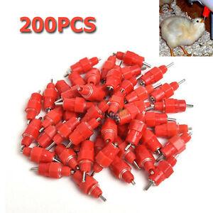 200pcs Water Nipple Drinker Chicken Feeder Poultry Pullet Breeder Screw In Style