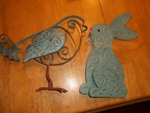 Country Decor Shabby Chic Bird Bunny Metal Painted Easter Spring