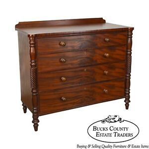 19th Century Antique Mahogany Large Sheraton Chest Of Drawers