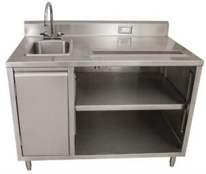 Bk Resources Beverage Counter Table Sink On Left Bevt 3060l All Stainless Steel
