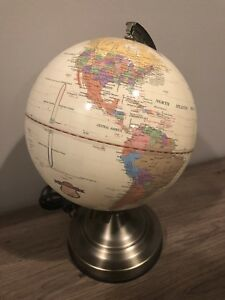 Fucashun Lighted Globe Touch Lamp 12 1 2 Tall Great Condition Working Maps