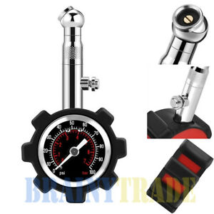 0 100 Psi Tyre Tire Air Pressure Gauge Meter Tester Car Truck Motorcycle Bike