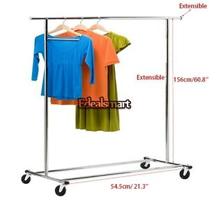 60 8 Heavy Duty Clothes Garment Hanging Rail Rack Adjustable Rolling 150lbs