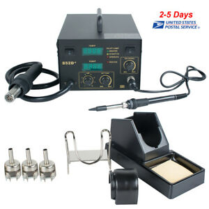 2in1 Smd Rework Station Soldering Hot Air Desoldering Esd 3 Nozzles 110v Usa